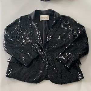Black sequin cropped jacket with satin lapel